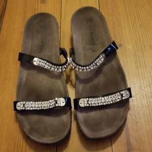 Mephisto Sandals Black w/Bling Straps Sz 41